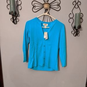 Women Talbots Blue 3/4 Sleeve Button Down …